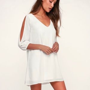 Lulus Shifting Dears Ivory Long Sleeve Mini Dress